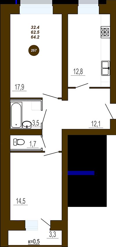 Двух комнатная квартира в ЖД Юность