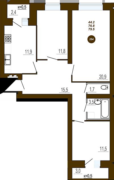 Трех комнатная квартира в ЖД Юность