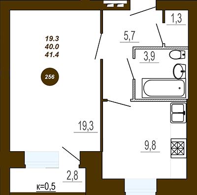 Однокомнатная квартира в ЖД Юность